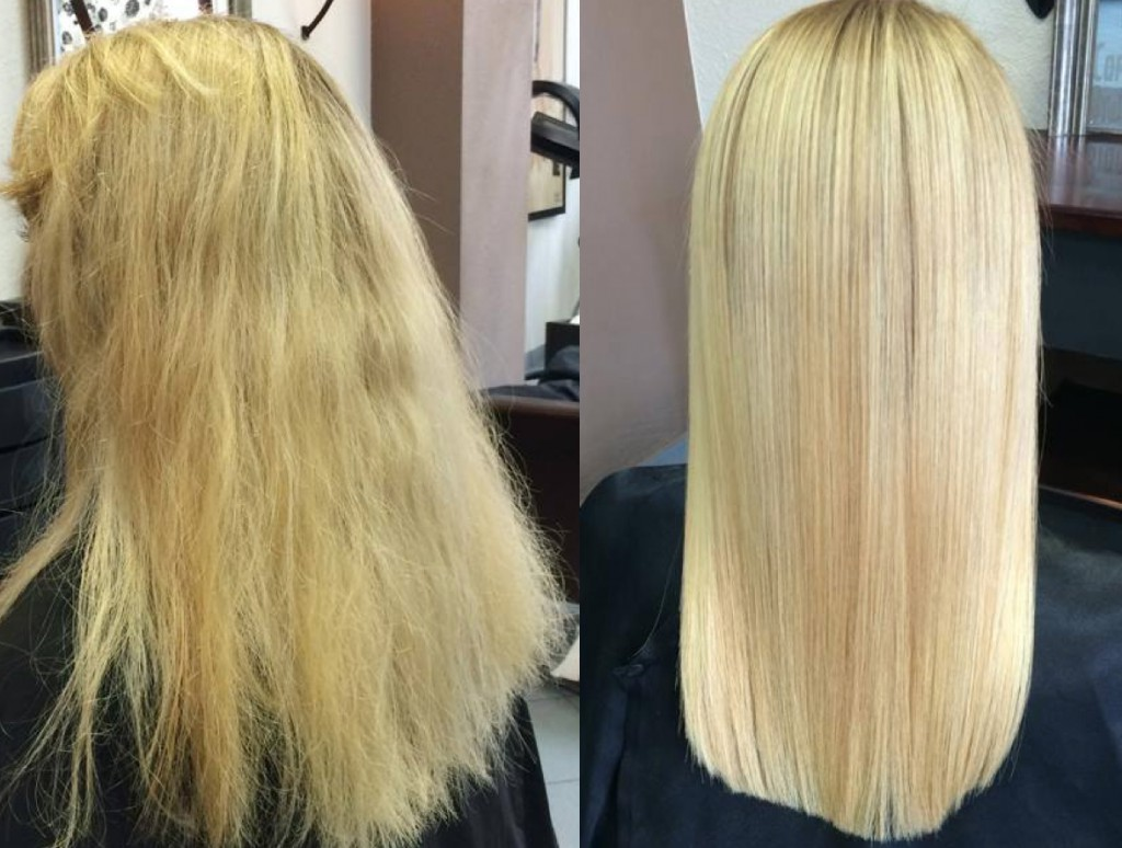 keratynowe prostowanie blond włosów wKrakowie